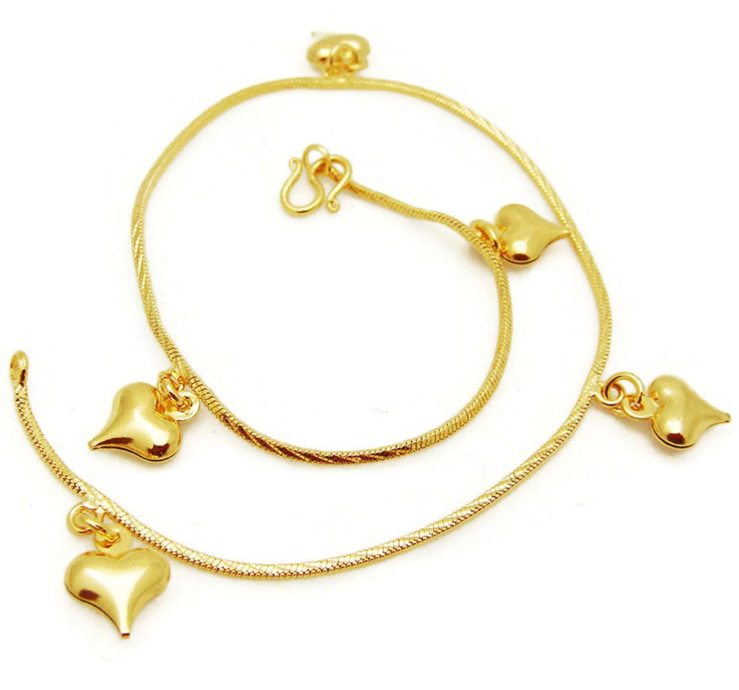 Heart Bell 24k Thai Baht Gold Plated Foots Jewelry Bracelet Charm Anklet 9 Inch