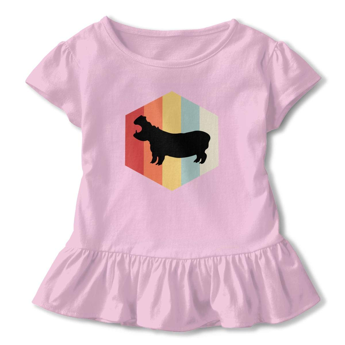 UAJAR Vintage 70s Hippo Baby Girls Short Sleeve Flounce Dress Comfortable Skirts T-Shirt