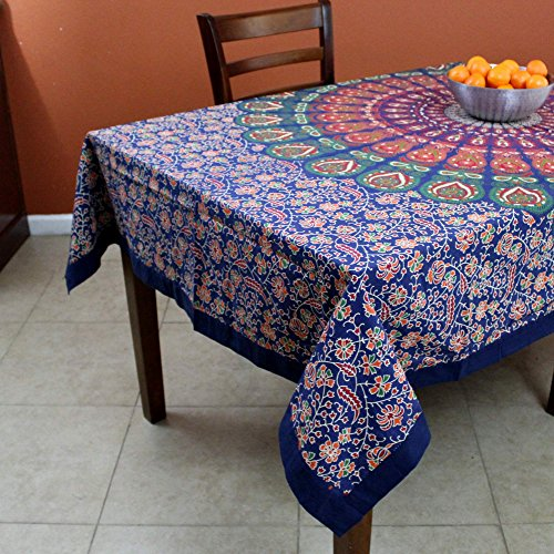 Handmade Cotton Sanganer Peacock Floral Tablecloth Rectangular 60 x 90 inches Red Off White Orange Green Blue by India Arts