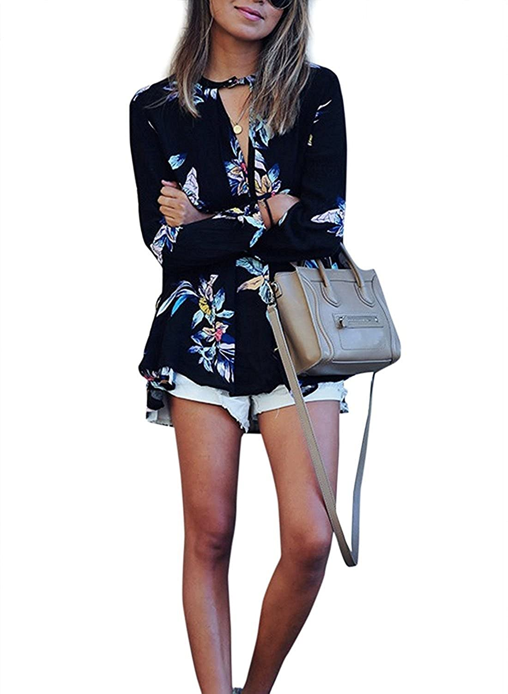 c22036588cade Camisas Mujer Manga Larga Negras Gasa Elegantes Vintage Estampadas Flores  Hippie Suelto Fashion Casual Primavera Otoño Blusas Blusones Camisetas  Tops  ...
