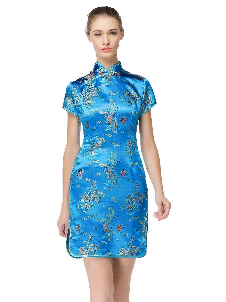 Bitablue Womens Peacock Blue Chinese Dragon and Phoenix Knee-length Qipao (2) by Bitablue (Image #1)