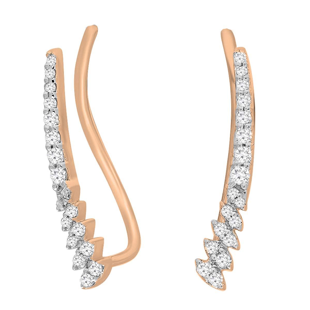 Dazzlingrock Collection 0.30 Carat (ctw) 10K Round White Diamond Ladies Climber Earrings 1/3 CT, Rose Gold