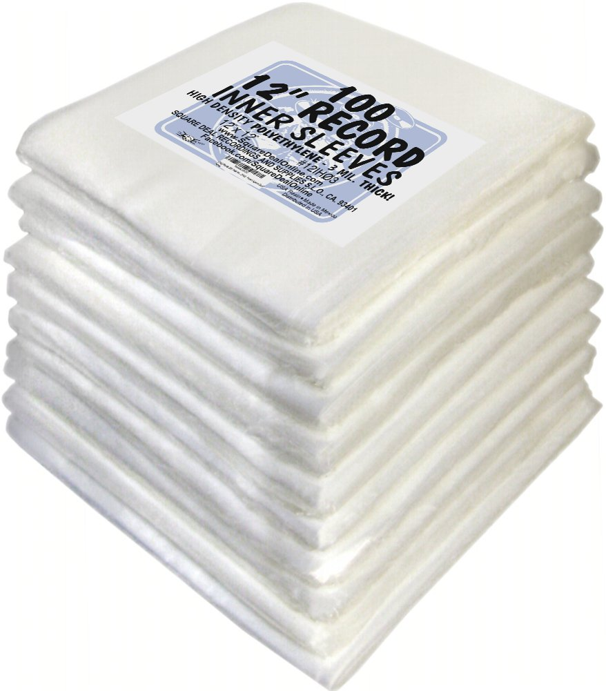 (1000) Plastic 3Mil Thick Inner Sleeves for 12'' Vinyl Records - 12IH03 - Protect Against Dust! by Square Deal Recordings & Supplies