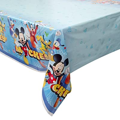 "Unique Mickey Roadster Plastic Party Table Cover, 54"" x 84"": Toys & Games"