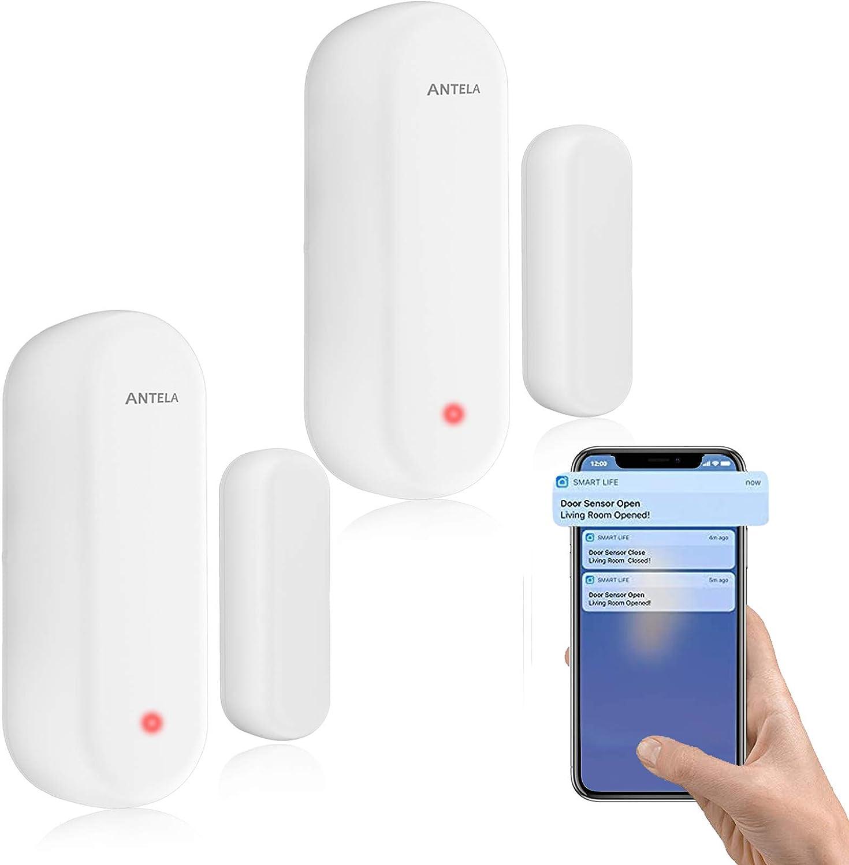 Alarma de puerta ventana ANTELA, sensor WiFi compatible con Alexa/Google Home,no requiere concentrador Monitoreo inteligente del estado de puertas y ventanas Envío de alarmas a teléfonos móviles,2 pcs