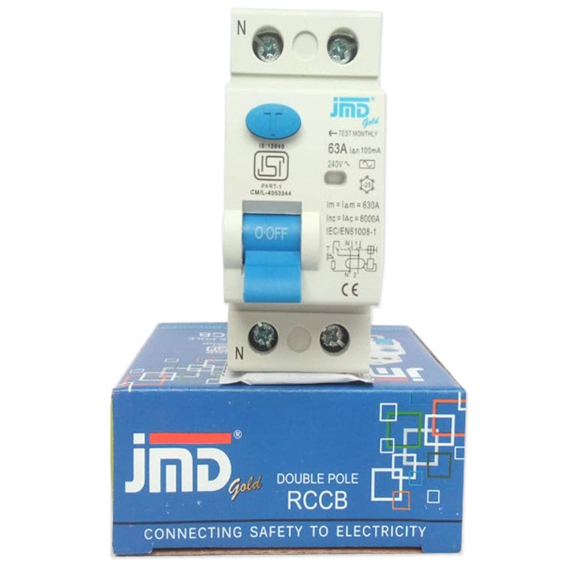 Jmd Gold Rccb Double Pole 63 Amp 100ma 240 V Residual Current How Does A Circuit Breaker Work Isi Mark Mcb Garden Outdoors