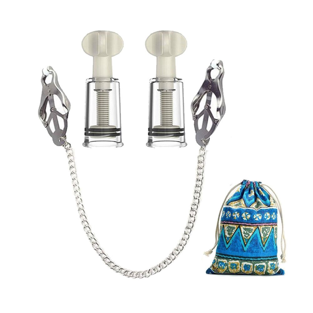 Women's Nipple Suckers and Nipple Clamps Set Breast Cups Clamps Nipplesuckers with Exquisite Storage Bag by EMPHY
