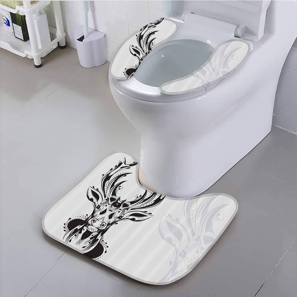 Auraisehome Toilet seat Cushion Tribal Deer Head Shadow Emblem Wilderness Ornamental Mochrome Artwork Machine-Washable