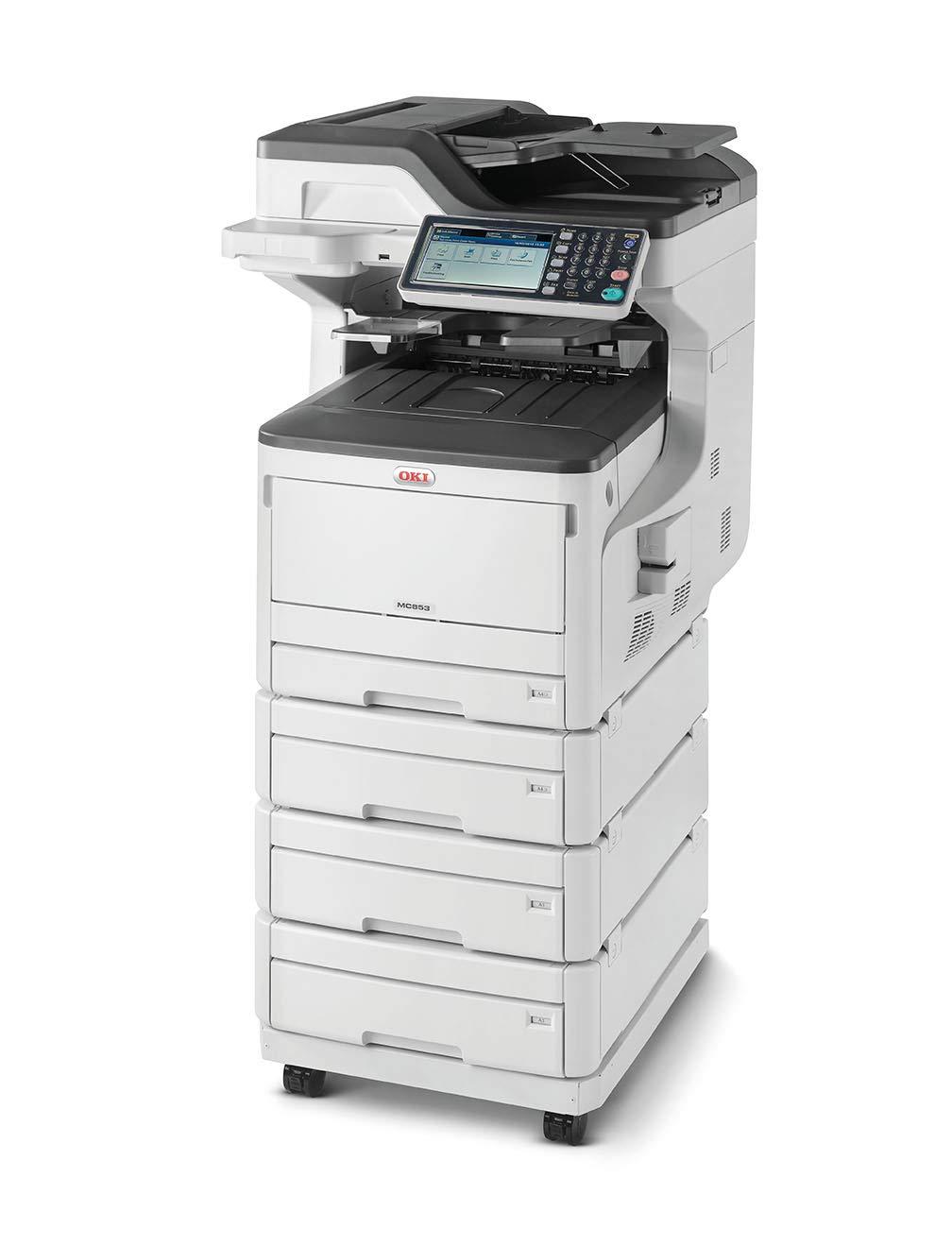 OKI MC853dnv LED 23 ppm 1200 x 600 dpi A3 - Impresora multifunción (LED, Impresión a Color, 1200 x 600 dpi, 300 Hojas, A3, Negro, Blanco)