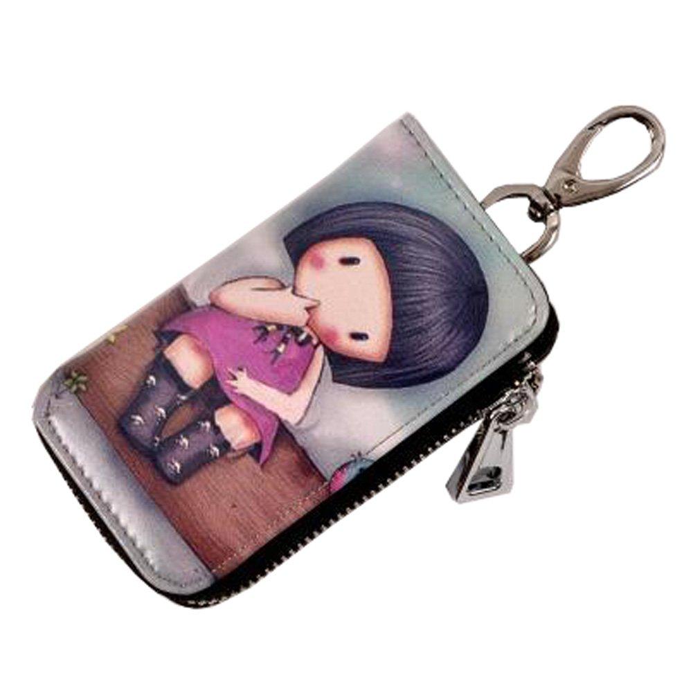 Blancho Women's Leather Key Case Creative Key Chain Bag Zipper Wallet Key Holder, O Blancho Bedding