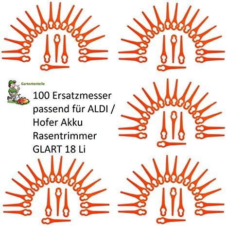 100 Kunstoffmesser passt für ALDI//Hofer Akku Rasentrimmer Gardenline GLART 18 Li