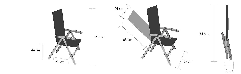 Vanage la terrasse et le balcon Lot de 2 Chaise adapt/ée pour le jardin Chaises pliantes avec dossier haut Fauteuil de jardin Ultra confortable et Design intemporel