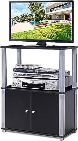 COSTWAY TV Mesa Mueble Estante Soporte Televisor Salón Estantería Almacenamiento para CD Libros DVD (Negro): Amazon.es: Hogar