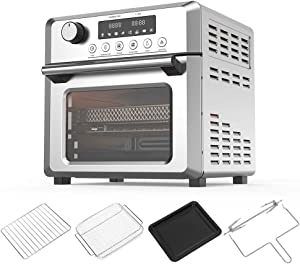 Air Fryer Oven Toaster Oven - 7 in 1 Combo, Convection Roaster with Rotisserie & Dehydrator, 19 QT 1500W for Large Family, Original Recipe and Accessories Included, FDA Stainless Steel. (Silver 19QT 1500W)