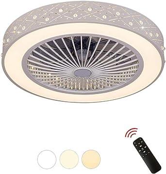 Luz del ventilador- Ventilador de techo redondo Luz LED Ventilador ...