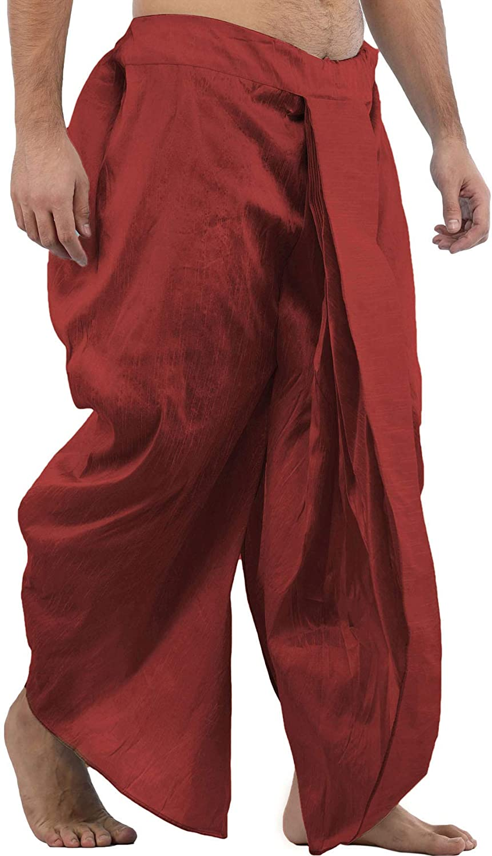 Maenner-Dhoti-Dupion-Silk-Plain-handgefertigt-fuer-Pooja-Casual-Hochzeit-Wear Indexbild 27