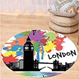 Niasjnfu Chen Custom carpetRetro Vintage London City View With Color Splashes Poster Style Urban Artwork Image for Bedroom Living Room Dorm Multicolor