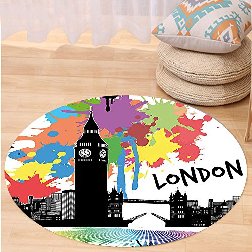 Niasjnfu Chen Custom carpetRetro Vintage London City View With Color Splashes Poster Style Urban Artwork Image for Bedroom Living Room Dorm Multicolor by Niasjnfu Chen