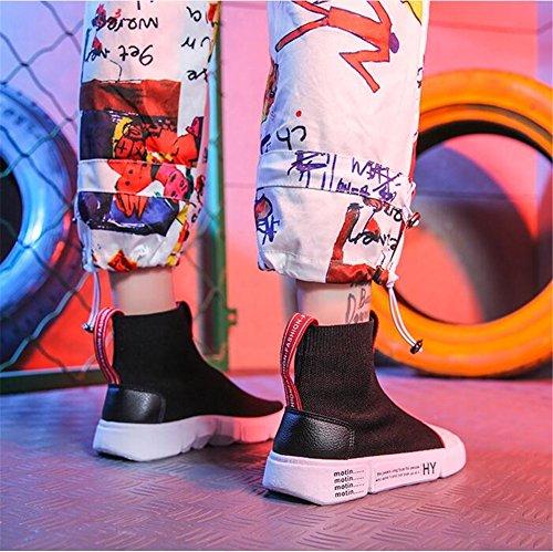Nuevas Zapatillas Ladie Botas de Un Wild Socks Zapatos Deporte de Plano Lavables Help de Net High Mujer tacón np1UYq0