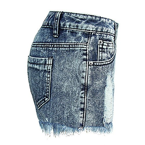 Pantaloni Donna Quge Jeans Blu Estivi Pantaloncini Hole Corto Eleganti Denim Strappato nRynTWO