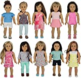"American Girl Doll Clothes Wardrobe Makeover- 10 Complete Outfits, Fits 18"" Doll Clothes- by PZAS Toys"