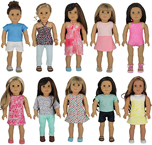 American Girl Doll Clothes – Wardrobe Makeover, 10 Complete Outfits, Fits 18″ Doll Clothes- by PZAS Toys