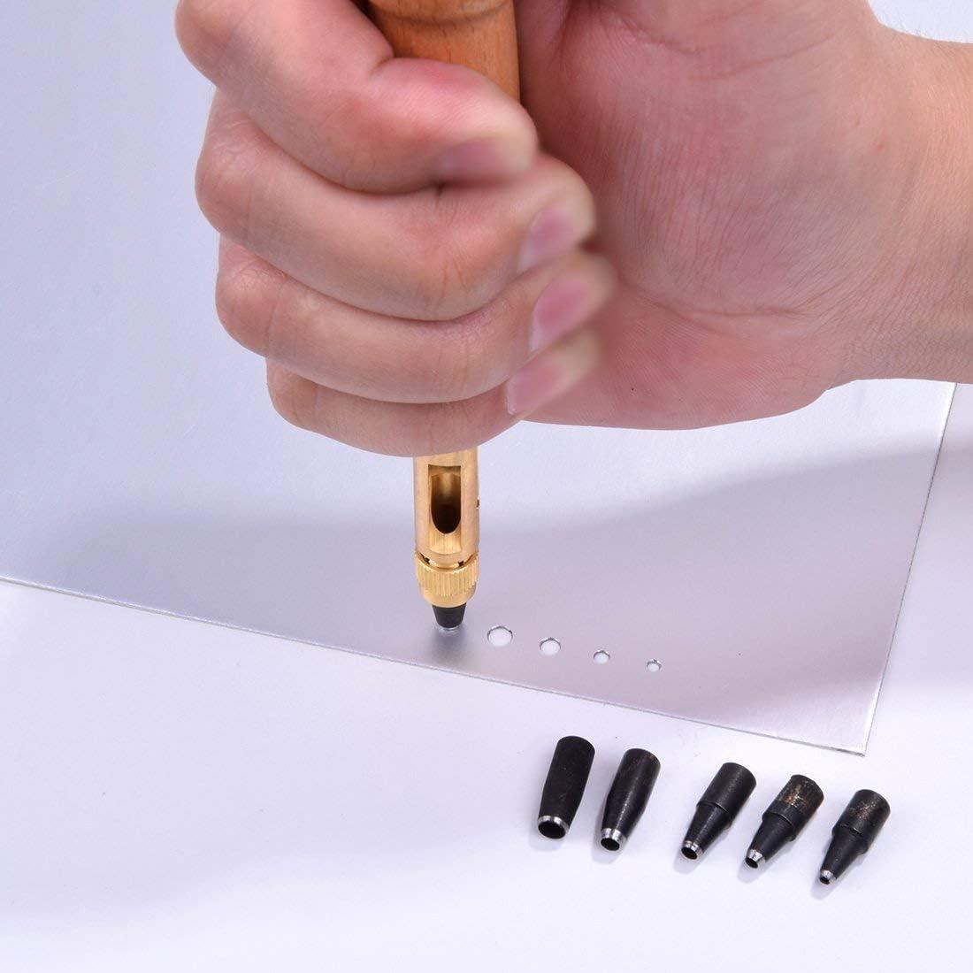 La perforatrice de livre de cuir doutil de trou de vis cuir automatique 6 bouts tailles 1.5-4mm pour le m/étier en papier de cuir de couture