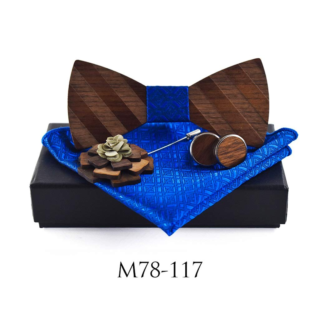Classic Handmade Mens Wood Bow Tie with Matching Pocket Square Mens Cufflinks Lapel Flower Set