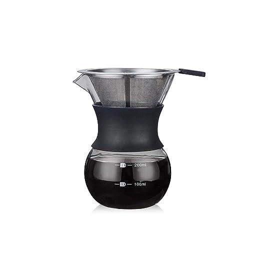Cafetera de cristal con filtro de acero inoxidable para preparar ...