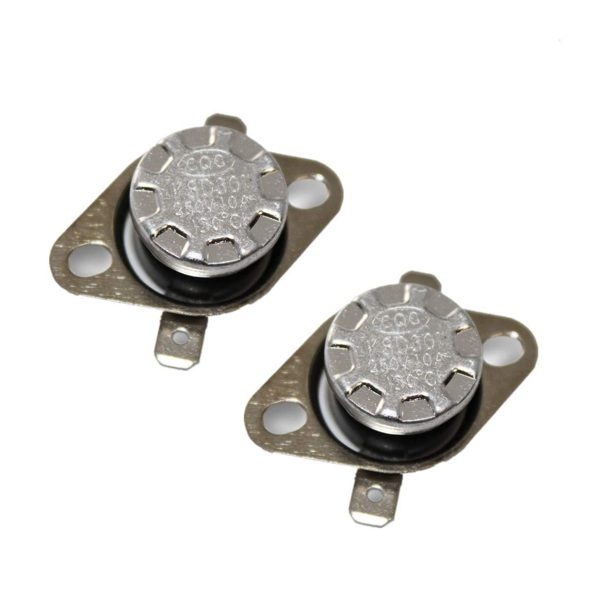 2pcs KSD301 NO 0°C 10A 250V Thermostat Temperature Switch Bimetal Disc N.O.