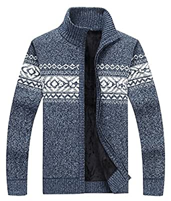 LemonGirl Mens villus Stand Collar Thicken Knitted Cardigan Sweater Jacket Coat