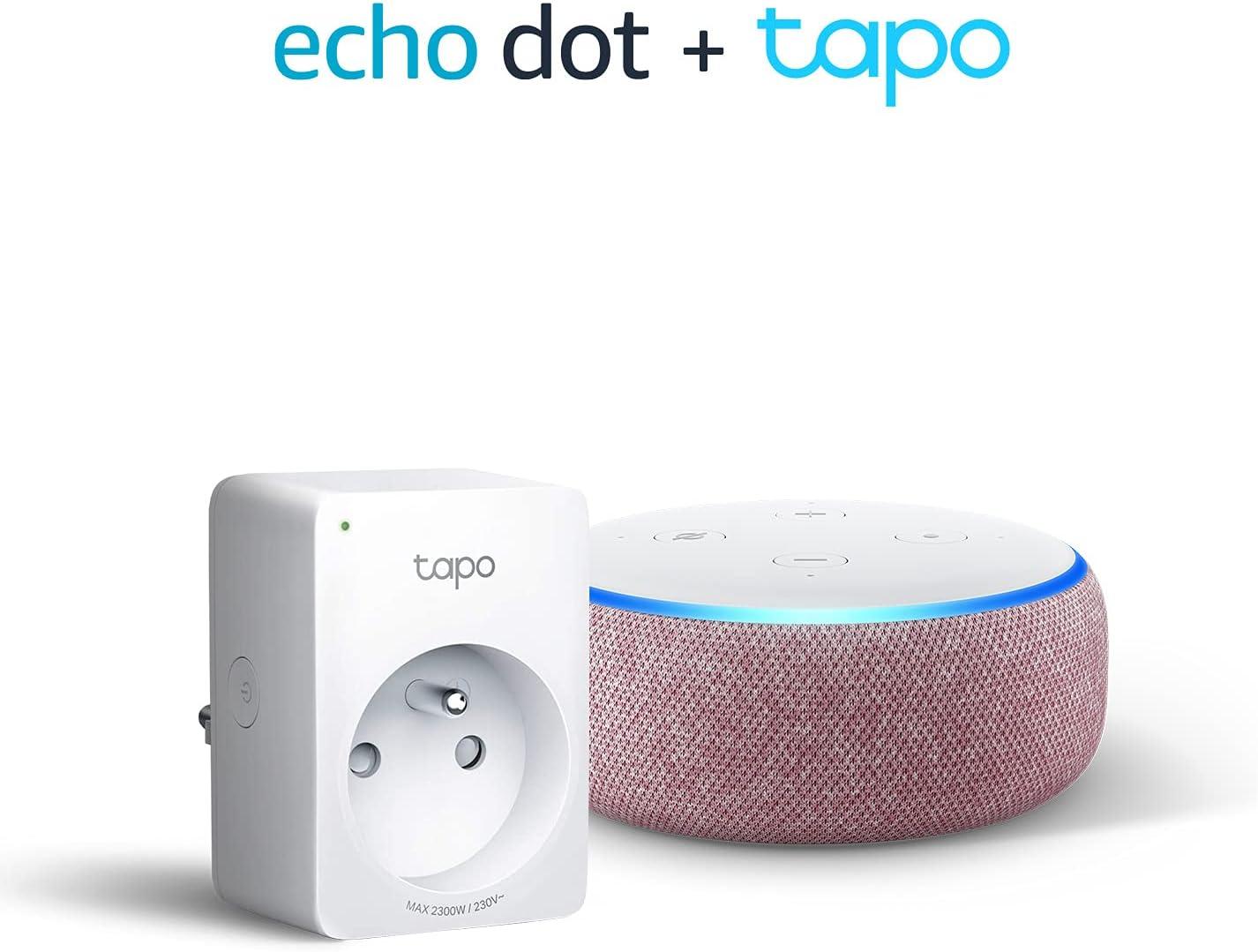 Echo Dot (3ème génération), Tissu prune + TP-Link Tapo P100 Smart Plug...