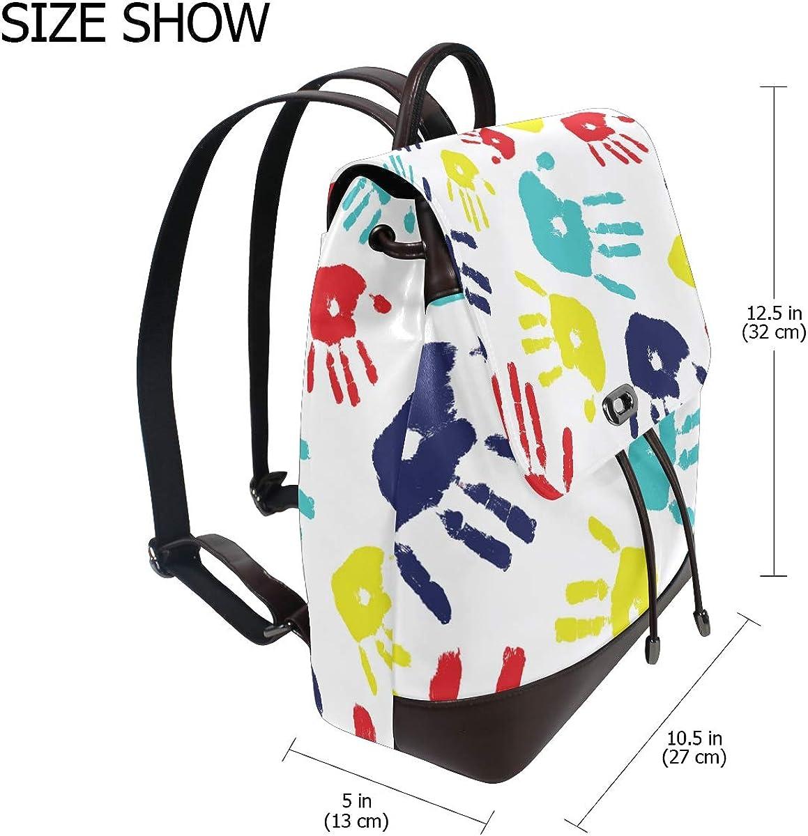 PU Leather Shoulder Bag,Palm Print Backpack,Portable Travel School Rucksack,Satchel with Top Handle