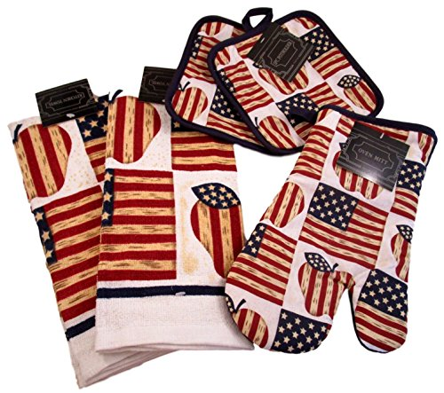 American Flag Kitchen Gift Sets - Pot Holders, Oven Mitts, and Kitchen Dish Towels (All American Apple Pie)