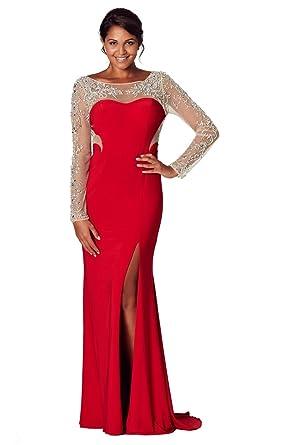 Tiffanys Illusion Prom Damen Schlauch Kleid Rot Rot: Tiffanys ...