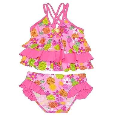 0dd4eb7c119 Amazon.com: Real Love Little Neon Pink Pineapple Flower Print Tiered ...