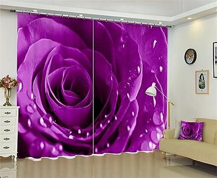 Camera Da Letto Rosa E Viola : 3d rosa rugiada della pioggia drappo oscuramento tende viola