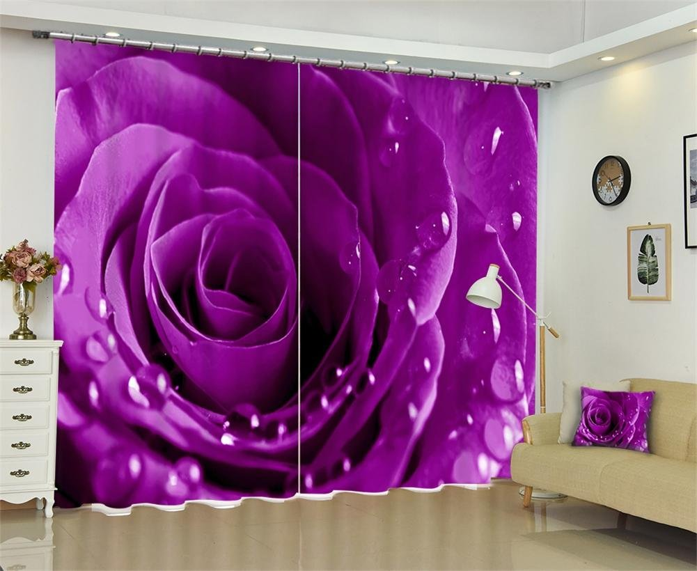 Dbtxwd 3D Rose flower Rain dew drape Blackout Purple Curtains Bedroom living room Panel Window Drapes , wide 2.03x high 1.6