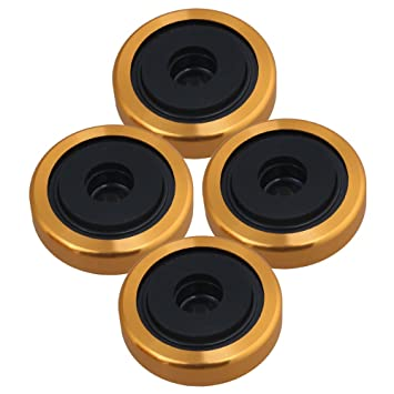 Yibuy 40x12mm Golden Alloy Plastic Anti-vibration Isolation Feet Pad Stand for Speaker Amplifier CD Player Pack of 4