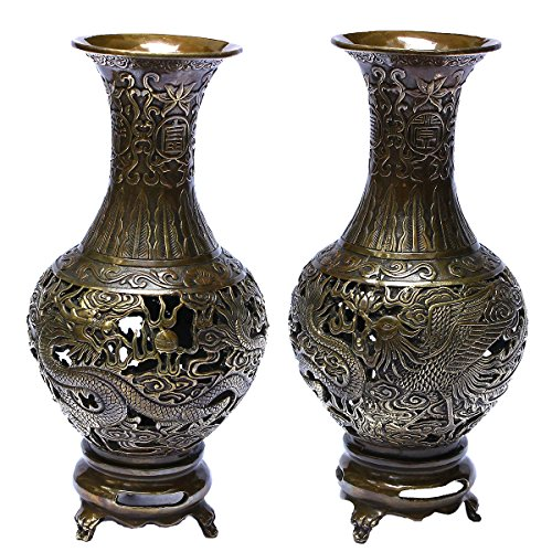 Handicrafts Brass Dragon&Phoenix Decorative Metal Hollow out Carved Three Foot Flower Pot / Vase Bronze Metal Bud Vases Showpieces Copper Finish - Hand Etched (Brass Etched Vase)
