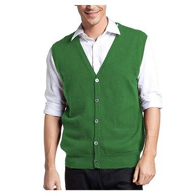 Parisbonbon Men's 100% Cashmere V-Neck Cardigan Vest at Amazon ...