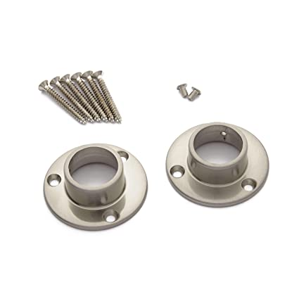 Naiture Brass Shower Curtain Rod Flanges Set Of 2 In Brushed Nickel Finish