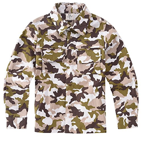 Army Surplus Wool Pants (ARRIBADA Boy's Camo Long Sleeve Button Down Cotton shirt with Chest Pockets, Bronze, Size 9)