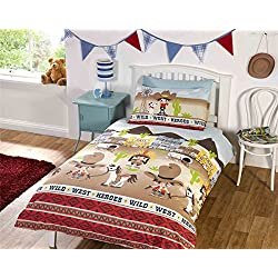 Children's Wild West Single Duvet Cover Bed Set Inc. Pillowcase