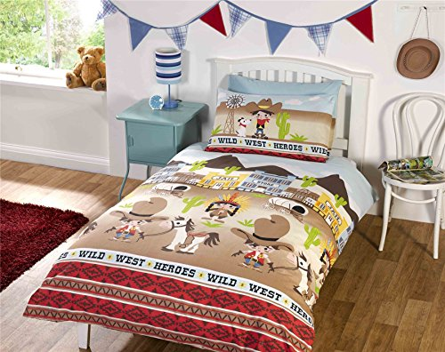 Children's Wild West Single Duvet Cover Bed Set Inc. Pillowcase