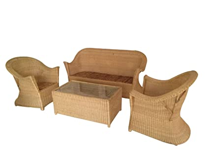 Virasat Furniture U0026 Furnishing Beige Color 5 Seater Bamboo Cane Sofa Set  With Table For Living