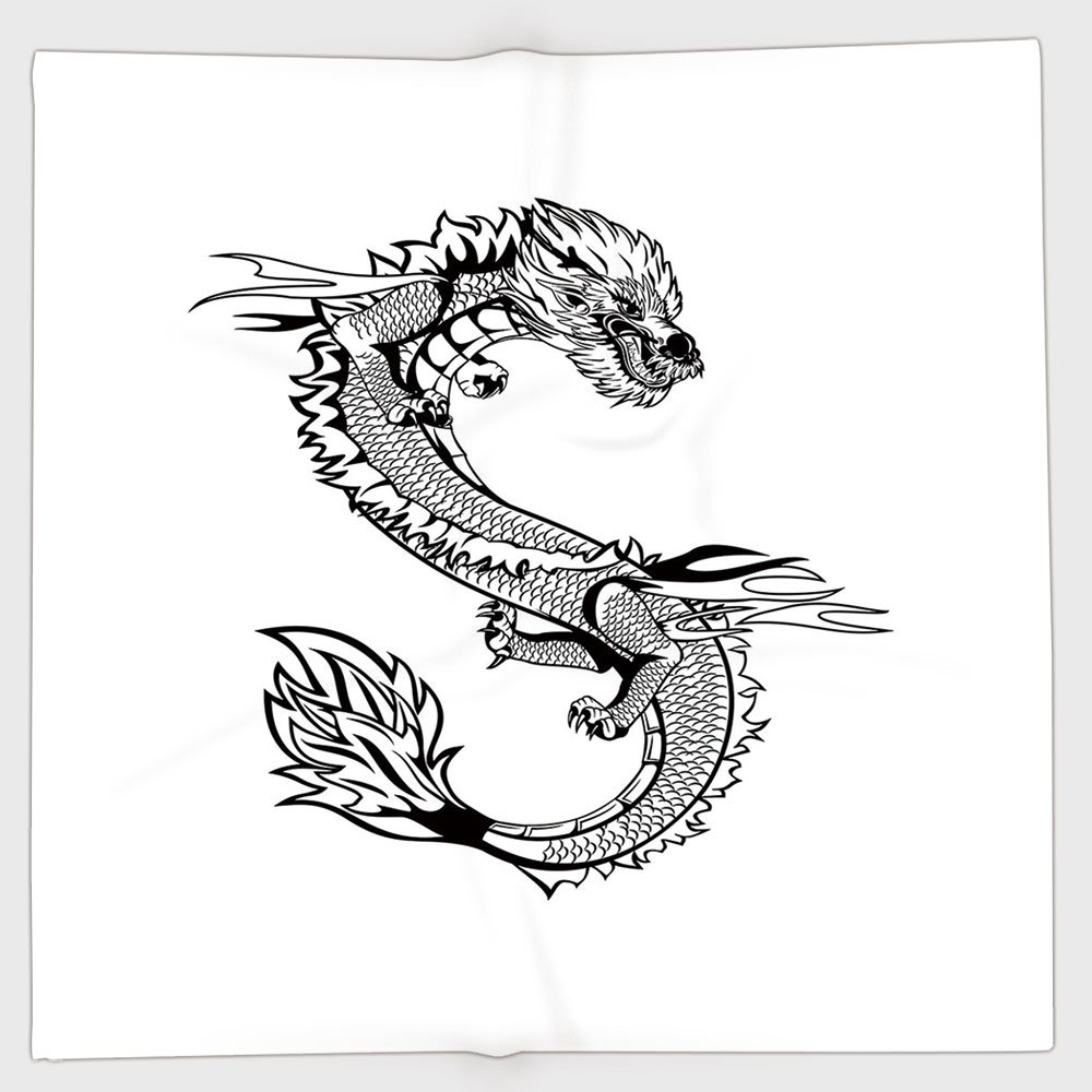 Cotton Microfiber Hand Towel,Japanese Dragon,Ancient Far Eastern Culture Esoteric Magical Monster Symbolic Thai Style Decorative,Black White,for Kids, Teens, and Adults,One Side Printing by iPrint