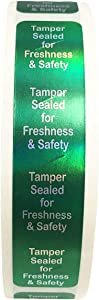 InStockLabels 500 Metallic Green Tamper-Evident Food Seal Stickers, Labels for Food Containers (0.75 Inches x 3.5 Inches)
