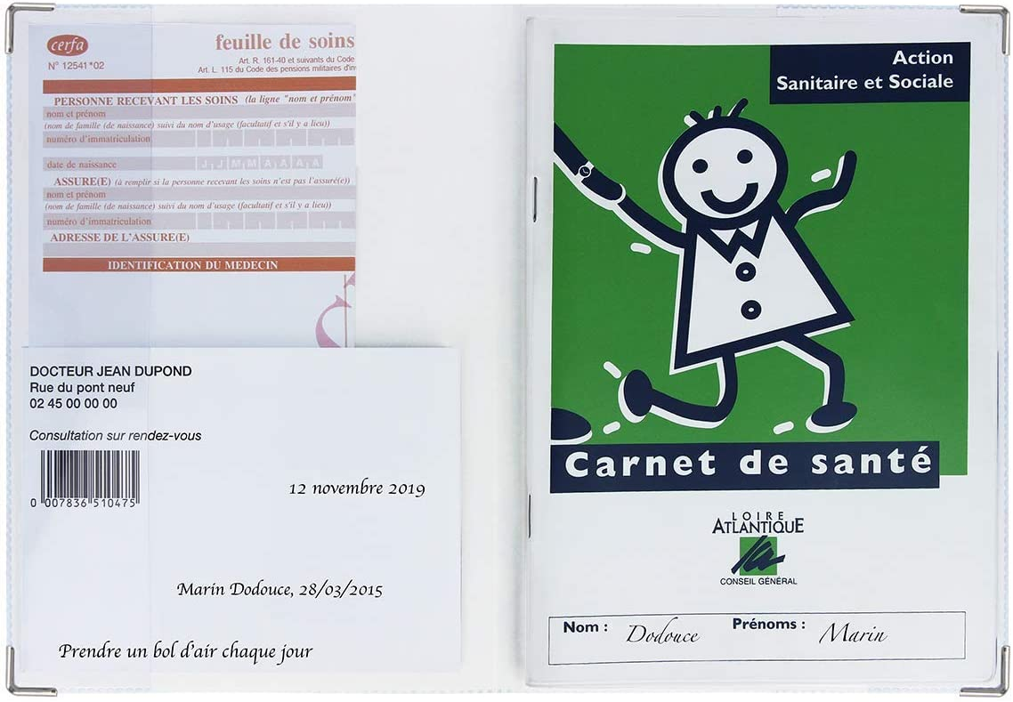Carnet de sant/é imprim/é Blanc imprim/é bambi Enfant//adulte - Fabrication fran/çaise