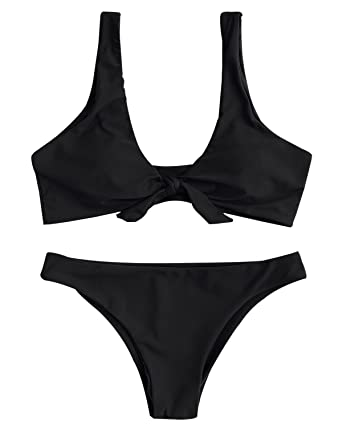 6b7f6f83b50b9 ZAFUL Women s Sexy Two Pieces Bikini Set Push up Padded Tankini Rib Knotted  Swimsuit Strap(